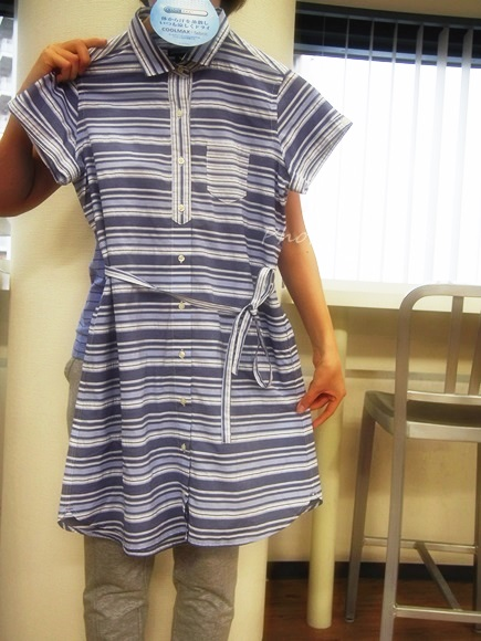 Striped shirtdress of short sleeves (1)